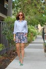 Jcrew-shirt-h-m-shorts-karen-walker-sunglasses-steve-madden-heels