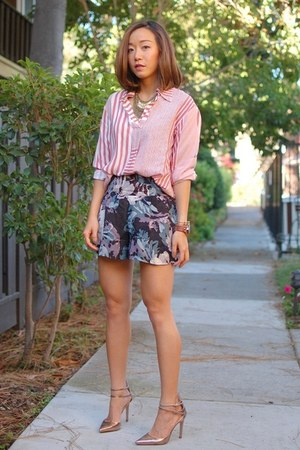 madewell shirt - Topshop shorts - Zara heels