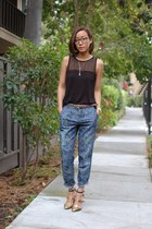 French Connection necklace - Luxury Rebel heels - H&M pants - ray-ban glasses
