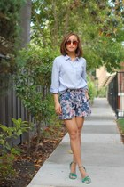 Jcrew shirt - H&M shorts - Karen Walker sunglasses - Steve Madden heels
