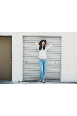 white Uniqlo blouse