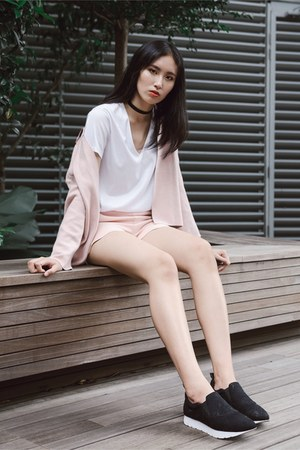 light pink outerwear Zara top