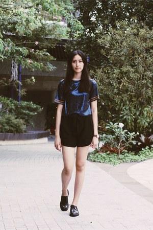 blue sequins Zara top