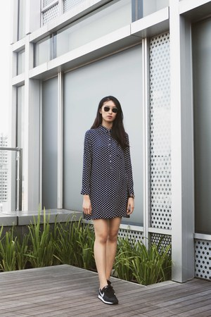 navy polka dot asos dress