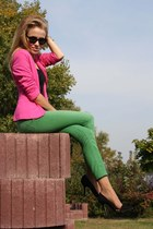 green pants - hot pink blazer