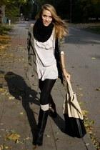 eggshell Stradivarius socks - black Zara boots - olive green George coat