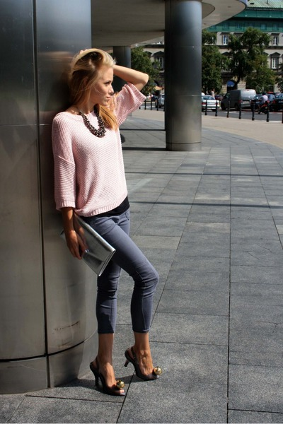 light pink second hand sweater - charcoal gray second hand pants