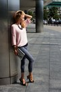 Light-pink-second-hand-sweater-heather-gray-vievienne-westwood-heels
