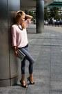 Light-pink-second-hand-sweater-heather-gray-vievienne-westwood-heels