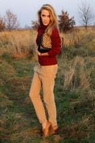 crimson Secondhand sweater - camel Bershka pants - bronze Zara wedges