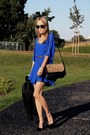 Brown-zara-bag-blue-new-look-dress-black-bhs-jacket-brown-vintage-belt