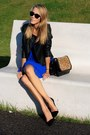Blue-new-look-dress-black-bhs-jacket-brown-zara-bag-brown-vintage-belt
