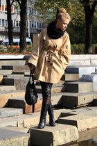 beige H&M cape - black heavy duty shoes - black second hand scarf