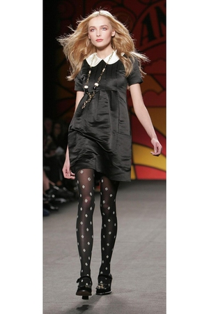 black Anna Sui dress - black Anna Sui tights