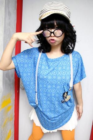 blue korean shirt - yellow korean leggings - white korean skirt