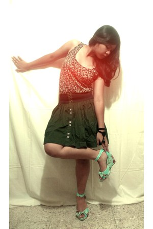 Missy wedges - made by me bracelet - Forever 21 t-shirt - Max skirt