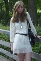 white Self Made dress - black H&M belt