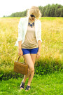 Gold-second-hand-v-d-shirt-blue-soft-desidesi-sandals