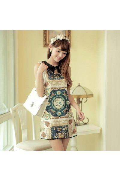 teal dress - white bag