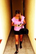 black hope bag - black gladiator Topshop sandals - hot pink fluor H&M blouse