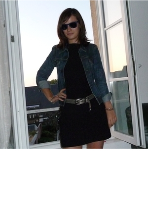 Levis jacket -  dress -  belt - ray-ban glasses