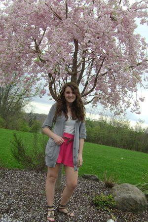 gray American Eagle sweater - pink Pac Sun skirt - brown American Eagle belt - b
