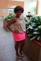 neon pink skirt - top - heels