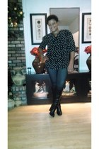 knee high boots - jlo faux jean leggings - polka dots blouse