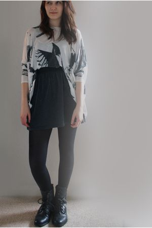 white Topshop top - silver American Apparel skirt - black boots