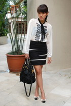 black Prada bag - white Bally shoes - black Freeway skirt