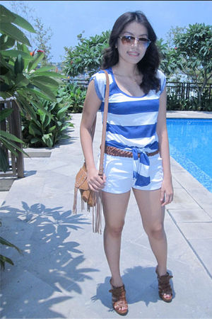 blue Zara top - white Bayo shorts - brown Mango bag - brown XOXO shoes - brown Z