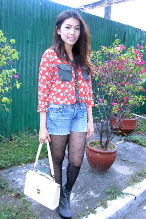 gray michael antonio boots - denim shorts bangkok shorts - ruby red ribbon bangk