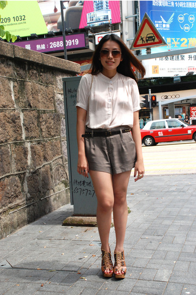 camel mini Ralph Lauren bag - army green Forever 21 shorts - dark khaki MS blous