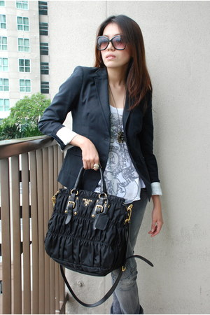 classic Prada bag - Aldo sunglasses - Zara blouse - Zara pants