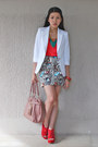White-zara-blazer-ivory-h-m-skirt-red-topshop-top-ruby-red-juan-wedges