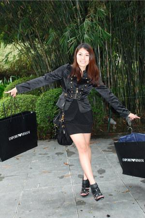 black studded michael antonio shoes - black Zara dress - black Luxury Trap jacke