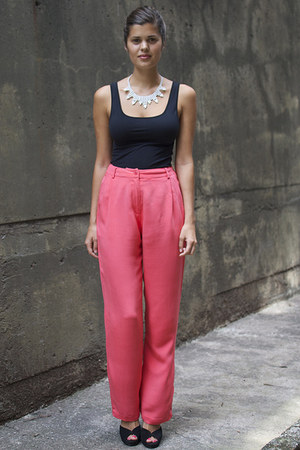 white DIY necklace - salmon silk A Pair & A Spare pants - black Country Road top