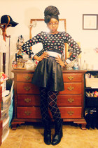 black combat H&M boots - black leather H&M skirt - black hearts H&M blouse
