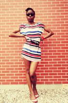 striped H&M dress - black sunglasses - Carlos Santana flats