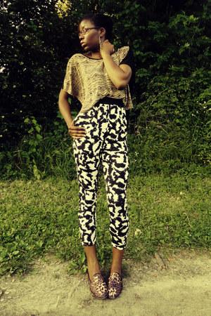 camel Forever 21 top - black H&M pants - Steve Madden flats