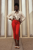 red cropped H&M pants - beige thrifted vintage blazer