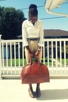 tawny structured vintage bag - tawny oxfords Forever 21 shoes