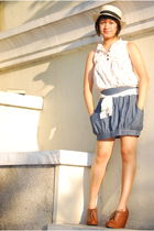 beige dress - brown h&m via thrift town boots - blue Gingersnaps skirt - white t