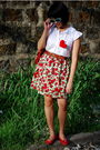 Red-skirt-white-esprit-blouse-red-ylla-shoes-brown-cole-haan-belt-blue-f