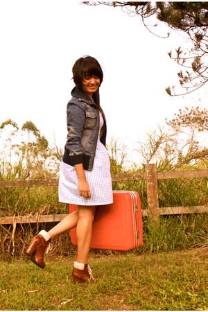 light blue Jellybean dress - dark brown H&M boots - navy MNG jacket