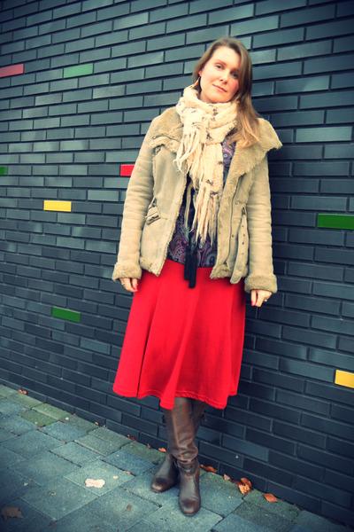 bronx boots - Bershka coat - H&M skirt