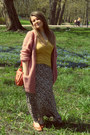 Pink-h-m-cardigan-dark-brown-new-look-skirt