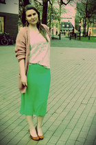 green Vero Moda suit - pink H&M cardigan - off white Zara top