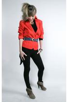 red vintage blazer - black Target vest - black American Apparel leggings - Zara