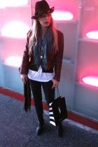 vintage jacket - black vintage sweater - white American Apparel t-shirt - black